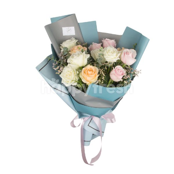 Product: Heartis Bouquet Of Mixed Flowers In Pastel - Image 1