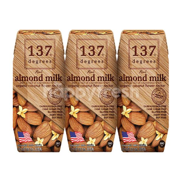 Product: 137 Degrees Almond Milk Original Flavour 180 ml (Pack 3) - Image 1