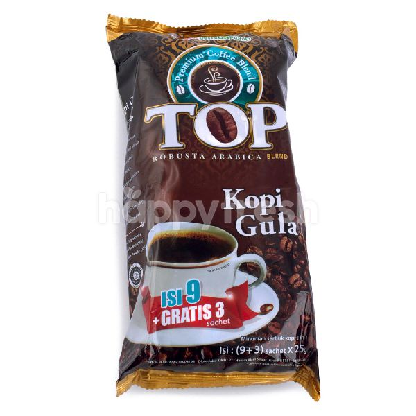 Product: TOP Coffee Robusta Arabica Blend Instant Coffee with Sugar Premix Coffee (12 sachets) - Image 1