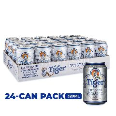 Tiger Crystal Lager Beer Cans (24x320ML)