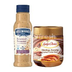 Hellmann's Roasted Sesame Salad Dressing 210G & Lady's Choice Peanut Butter Choc Stripe 350G