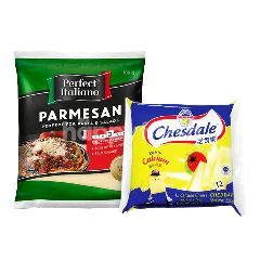 Fonterra Chesdale Cheddar Cheese Slice (12 Slices) and Perfect Italiano Parmesan Cheese Grated 100g Package