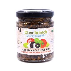 OLIVEBRANCH Chunky Tapenade Green & Black Olives With Sundried Tomato, Feta & Greek Basil