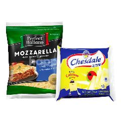 Fonterra Chesdale Cheddar Cheese Slice (12 Slices) and Perfect Italiano Mozzarella Cheese Traditional Grated 250g Package