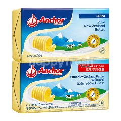 Anchor New Zealand Pure Unsalted Butter 227g and Salted Pure New Zealand Butter 227g,